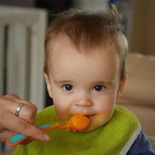 a baby getting a spoonful of baby food